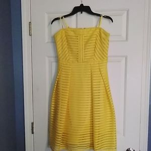 New York and Company yellow lace dress